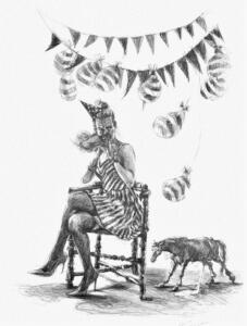 Contemporary Nymphs: Nymph with partyhat  (Hedendaagse Nimfen: 'Nimf met feesthoedje')