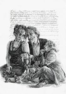 Humbert en Borgia bepalen ligging Carthago en vinden Dido, 2016, 50x40 cm
