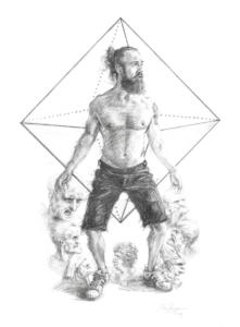 'Vitruvian Man 2019', 50x40 cm, pencil on paper