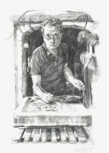 Portrait of Jeroen Hermkens wordking in his studio