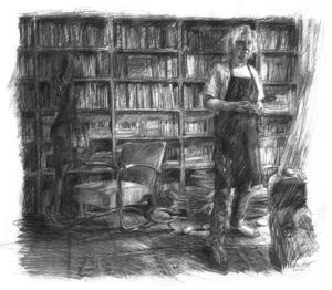 Artist Hans Könings in his library
